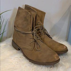 Tan lace up combat boots